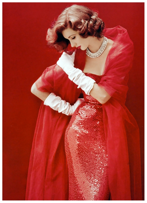 suzy-parker-in-red-sequined-dress-by-norman-norell-photo-by-milton-greene-life-september-1952-milton vintage