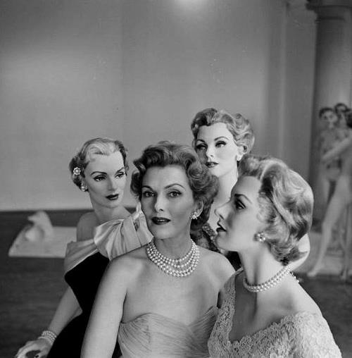 Models and mannequins photographed by Nina Leen, 1950's.
