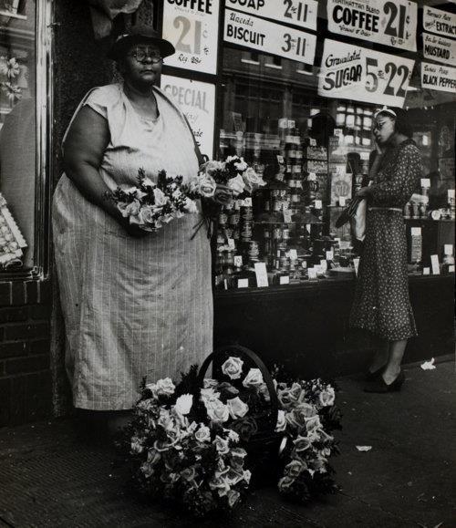 "Beatrice Kosofsky - Flower vendor from ""Harlem Document"" Harlem, New York, USA, c.1935."