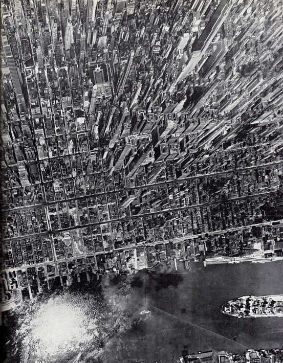 new york from above mpact vertical view of Midtown Manhattan, July 1944