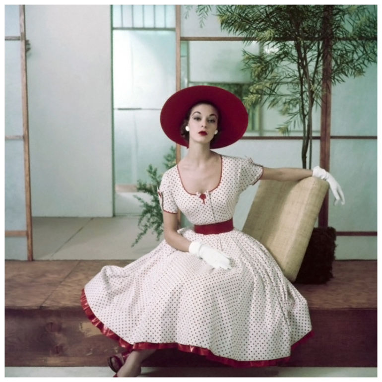 jean-patchett-in-red-and-white-polka-dot-summer-dress-with-petticoat-ruffle-hat-and-gloves-photo-frances-mclaughlin-gill