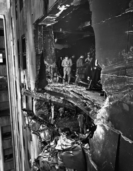 Damage to the Empire State Building from a Plane Collision 1945